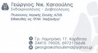 """Ενδοκρινολόγος - Διαβητολόγος """"Γεώργιος Νικ. Κατσούλης"""""""
