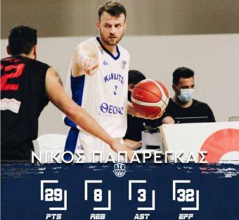 MVP της 4ης αγωνιστικής της Α2 ο Νίκος Παπαρέγκας του ΑΣΚ