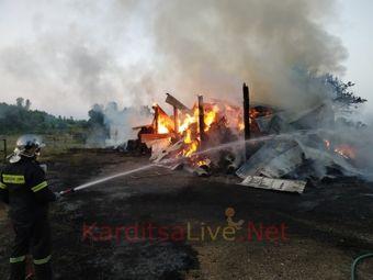 Καρδίτσα: Κάηκε ολοσχερώς αποθήκη με δέματα σε φάρμα αλόγων (+Φώτο +Βίντεο)